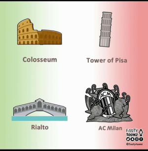 Historical monuments in Italy. (📷: @FootyToonz ) https://t.co/Frmx7IcZkY: Colosseum  Tower of Pisa  ACM  Rialto  AC Milan  FEOTY  TOONZ  0000  @footytoonz Historical monuments in Italy. (📷: @FootyToonz ) https://t.co/Frmx7IcZkY