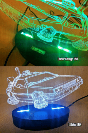 novelty-gift-ideas:  BACK TO THE FUTURE INSPIRED DELOREAN TIME MACHINE ACRYLIC LIGHT  : Colour Change USB novelty-gift-ideas:  BACK TO THE FUTURE INSPIRED DELOREAN TIME MACHINE ACRYLIC LIGHT