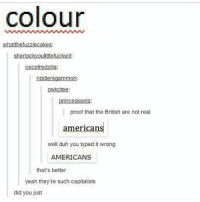 Ironic, Yeah, and British: colour  whatthefuzzlecakes  sherlockyoulittlefuckwit:  cecefredzilla:  riddlersgammon:  owicitee  princeskaela:  proof that the British are not real  americans  well duh you typed it wrong  AMERICANS  that's better  yeah they're such capitalists  did you just