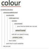 Memes, Yeah, and British: colour  whatthefuzzlecakes:  sherlockyoulittlefuckwit:  cecefredzilla:  riddlersgammon:  owicitee:  princeskaela:  proof that the British are not real  americans  well duh you typed it wrong  AMERICANS  that's better  yeah they're such capitalists  did you just it's not as if we brits aren't huge capitalists too tho so