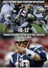 I think at this point it's safe to say it wasn't the footballs...: COLTS RECORDSINCE STARTING DEFLATEGATE  210-12  FOOTBALLS SINCE  Riddell  NFL MEMES  18-6 I think at this point it's safe to say it wasn't the footballs...