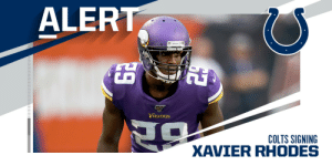 Colts signing CB Xavier Rhodes to a one-year deal. (via @RapSheet) https://t.co/0OH2trTJgL: Colts signing CB Xavier Rhodes to a one-year deal. (via @RapSheet) https://t.co/0OH2trTJgL
