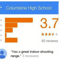 """Memes, School, and Reviews: Columbine High School  40 reviews  """"Has a great indoor shooting  range."""" 3 reviewers 👏👏"""