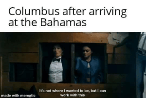 History memes. Numbered: Columbus after arriving  at the Bahamas  It's not where I wanted to be, but I can  work with this  made with mematic History memes. Numbered