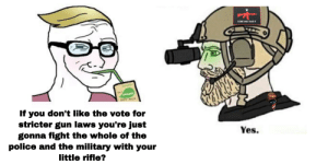Yes: COME AND TAKE IT  ORDA  sOY MALK  If you don't like the vote for  stricter gun laws you're just  gonna fight the whole of the  police and the military with your  Yes.  little rifle? Yes