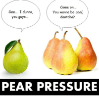 i dunno: Come on  Gee... I dunno,  you wanna be cool  dontcha?  you guys...  PEAR PRESSURE