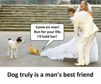 Best Friend, Life, and Run: Come on man  Run for your life.  I'll hold her!  Dog truly is a man's best friend