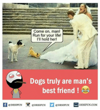 Be Like, Best Friend, and Dogs: Come on, man!  Run for your life!  I'll hold her!  Dogs truly are man's  best friend  @DESIFUN  @DESIFUN  @DESIFUN  DESIFUN COM Twitter: BLB247 Snapchat : BELIKEBRO.COM belikebro sarcasm meme Follow @be.like.bro
