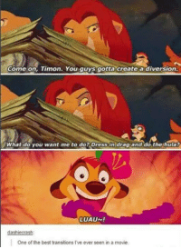 Memes, 🤖, and Drag: Come on, Timon. You guys gotta create a diversion.  What do you want me to do? Dress in drag and do the hula?  LUAUN!  dashiecrash:  One of the best transitions Pve ever seen in a movie.