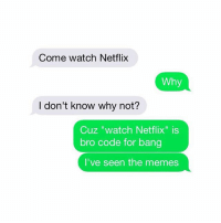 "Bro: Come watch Netflix  Why  I don't know why not?  Cuz ""watch Netflix"" is  bro code for bang  I've seen the memes Bro"