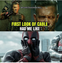 Dope, Memes, and Deadpool: @comicbookmemes  FIRST LOOK OF CABLE  HAD ME LIKE Holy fuc**** stuffed unicorns! Cable looks SO DOPE! credit: @comicbookmemes_ . . . deadpool cable xmen joshbrolin