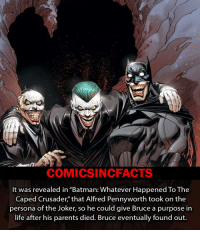 """Memes, The Joker, and 🤖: COMICSIN CFACTS  It was revealed in """"Batman: Whatever Happened To The  Caped Crusader,"""" that Alfred Pennyworth took on the  persona of the Joker, so he could give Bruce a purpose in  life after his parents died. Bruce eventually found out. Rate Alfred, 1-10?! Please Turn On Your Post Notifications For My Account😜👍! - - - - - - - - - - - - - - - - - - - - - - - - Batman Superman DCEU DCComics DeadPool DCUniverse Marvel Flash MarvelComics MCU MarvelUniverse Cosplay DeathStroke JusticeLeague StarWars Spiderman Ironman Batman Logan TheJoker Like4Like L4L WonderWoman DoctorStrange Flash JusticeLeague WonderWoman Hulk Disney CW DarthVader Tonystark Deadshot"""