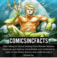 Batman, Disney, and Memes: COMICSINCFACTS  After taking an all out beating from Wonder Woman,  Aquaman got back up immediately and continued to  fight. It was shown that he only suffered only a  bloody lip. I am really excited to see Jason Mamoa's Aquaman! Please Turn On Your Post Notifications For My Account😜👍! - - - - - - - - - - - - - - - - - - - - - - - - Batman Superman DCEU DCComics DeadPool DCUniverse Marvel Flash MarvelComics MCU MarvelUniverse Netflix DeathStroke JusticeLeague StarWars Spiderman Ironman Batman Logan TheJoker Like4Like L4L WonderWoman DoctorStrange Flash JusticeLeague WonderWoman Hulk Disney CW DarthVader Tonystark Wolverine logan