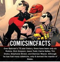 Batman, Disney, and Drake: COMICSINCFACTS  over Batman's 75 year history, there have been only six  Robins. Dick Grayson, Jason Todd, Carrie Kelley, Tim  Drake, Stephanie Brown, and Damian Wayne. Although  he has had many sidekicks, only 6 donned the mantle of  Robin. What Is your most anticipated movie of 2017?! Please Turn On Your Post Notifications For My Account😜👍! - - - - - - - - - - - - - - - - - - - - - - - - Batman Superman DCEU DCComics DeadPool DCUniverse Marvel Flash MarvelComics MCU MarvelUniverse Netflix DeathStroke JusticeLeague StarWars Spiderman Ironman Batman Logan TheJoker Like4Like L4L WonderWoman DoctorStrange Flash JusticeLeague WonderWoman Hulk Disney CW DarthVader Tonystark Wolverine