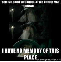 I Have No Memory Of This Place: COMING BACK TO SCHOOL AFTER CHRISTMAS  BREAK  I HAVE NO MEMORY OF THIS  PLACE  memegenerator.net
