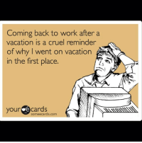 Coming back to work after a  vacation is a cruel reminder  of why went on vacation f  in the first place.  your e cards  somee cards.com Where'd all the palm trees go🌴🌴🌴...F*ck this already..lol 😖🔫