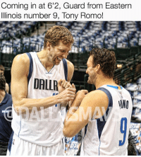 Memes, Tony Romo, and Dallas: Coming in at 6'2, Guard from Eastern  Illinois number 9, Tony Romo!  DALLA Two Dallas Legends 🐐🐐 ThankYouRomo CowboysNation ✭