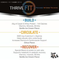 Click, Friends, and Memes: COMING OCTOBER 2018 8  THRIVE  FIT  : FoCUSED INTENSE TRAINING  BUILD  25g of Casein & Whey Protein 140 Calories  Vitamins, Minerals, BCAAs  Vanilla Ice Cream Flavor  CIRCULATE  3000 mg of premium L-Arginine  Helps elevate nitric oxide levels  Increases Stamina & Cardiovasular Support  Citrus Flavor  RECOVER  Special Blend of protein to carb ratio  Supports metabolic & catabolic recovery  Vitamins, minerals, BCAAs  Vanilla Ice Cream Flavor The three simple steps that I have told you about and use daily JUST GOT BETTER! LOOK at what is coming! 👇👇WOW!   I cannot wait to get my hands on it! Get on my customer VIP list if you want to learn MORE! Fitness friends...you have GOT to experience this!   Step 1: Click  https://kevinsorbo.le-vel.com Step 2: Click the ORANGE customer button Step 3: Click your flag and register for a FREE account!  WE WILL SEND YOU MORE INFO WHEN THRIVE FIT LAUNCHES!