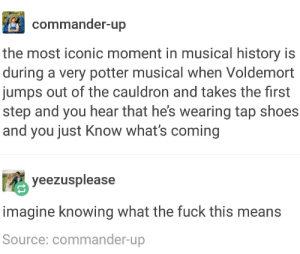 Shoes, Fuck, and History: commander-up  the most iconic moment in musical history is  during a very potter musical when Voldemort  jumps out of the cauldron and takes the first  step and you hear that he's wearing tap shoes  and you just Know what's coming  yeezusplease  imagine knowing what the fuck this means  Source: commander-up Truly iconic