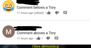 tories: Comment belows a Tory  11 hours ago (edited) • I  Comment aboves a Tory  11 hours ago •  I love democracy. tories