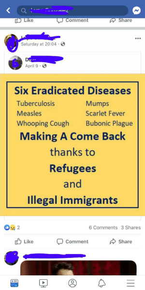 Posted by a relative that came to the country illegally.: Comment  Share  Like  Saturday at 20:04 .  April 9  Six Eradicated Diseases  Tuberculosis  Mumps  Measles  Scarlet Fever  Bubonic Plague  Whooping Cough  Making A Come Back  thanks to  Refugees  and  Illegal Immigrants  2  6 Comments 3 Shares  Like  Share  Comment Posted by a relative that came to the country illegally.