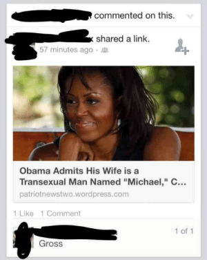 "Obama, Tumblr, and Blog: commented on this  shared a link.  57 minutes ago  Obama Admits His Wife is a  Transexual Man Named""Michael, C  patriotnewstwo.wordpress.com  1 Like 1 Comment  1 of 1  Gross memehumor:  This is getting a little out of hand."