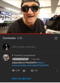 'KPOP!!' Joins the army: Comments 4.5K  Add a public comment.  Pinned by CaseyNeistat  CaseyNeistat.1 day ago  subscribe to PewDiePie https://  www.youtube.com/user/PewDiePie  6.8K  332  VIEW 332 REPLIES 'KPOP!!' Joins the army