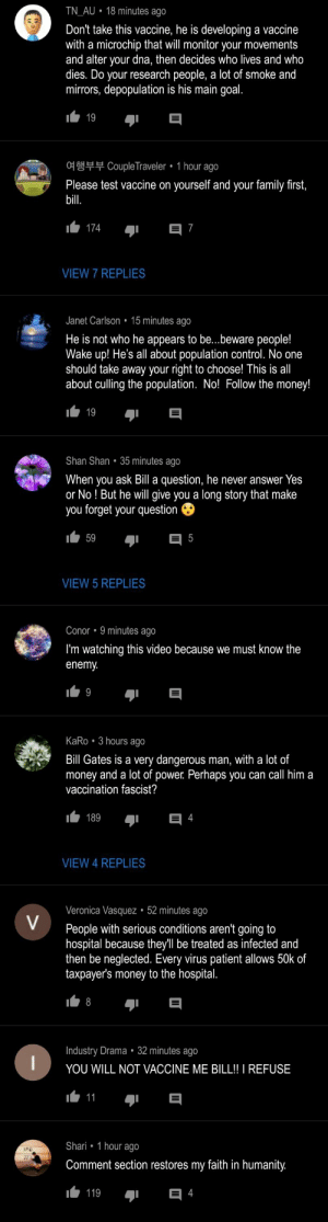 Comments on a video of Bill Gates Finding a Vaccine for COVID-19.. What's going on here?!: Comments on a video of Bill Gates Finding a Vaccine for COVID-19.. What's going on here?!