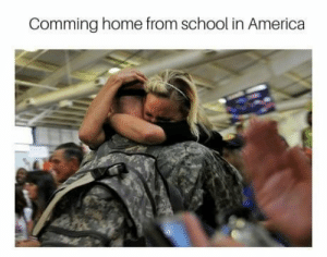 A mother is hugging his son after he comes from War, 2016.: Comming home from school in America A mother is hugging his son after he comes from War, 2016.