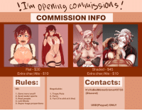"Lol, Meme, and Shit: COMMISSION INFO  eice-Meme  ice-  Shaded - $45  Extra char/Alts- $10  Flat $30  Extra char/Alts- $10  Rules:  Contacts:  NO:  Negotiable:  It'sYa Boi MèmeCreme#0733  (Discord)  1. Gore/vore/snuff  2. Scat/water sports  3. Real people  4. Loli/Shota  5. Super huge proportions  1. Traps/Futa  2. Furry  3. Yuri (l'm shit at it tho)  USD (Paypal) ONLY <h2><b>OPEN FOR COMMISSIONS AGAIN again</b></h2><p>Sup dudes! As you've noticed I took a break from commissions in June due to exams and did a bunch of my own stuff and requests.</p><p><b>BUT </b></p><p>It's July so shop's open again!</p><p>If you are interested please:</p><ol><li>DM me here or on Discord: <b>It'sYaBoiMèmeCrème#0733 </b><br/></li><li>List everything that you want for your commission. <b>Description, Photo reference, other details</b>.<br/></li><li>Use PayPal for payment. Payment will be done once we <b>both</b> agree on a sketch.</li><li>Don't do major changes beyond the sketching phase.</li></ol><p>Slots:</p><ol><li>Z.M</li><li>S.K.</li><li>W.O.C</li><li>S.T.D. (lol)</li><li>D.R.</li><li>I.J.R.E.</li><li>G.C.</li><li>R.R.</li><li>S6B(F)</li><li>L.B.</li><li>W.R.</li></ol><p>Alright, that's it</p><p>Listen to <b><a href=""https://www.youtube.com/watch?v=GDpmVUEjagg"" target=""_blank"">these?</a> </b>Or<b> <a href=""https://www.youtube.com/watch?v=0n-we66ZHqc"" target=""_blank"">these?</a></b></p>"