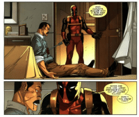 COMMITS  SUICIDE WITH  A BOW AND  ARROWP  BOWS ARE  FOR LIKE, LONG  DISTANCE KILLING  NOT UP CLOSF  KILLING  DIDN'T Deadpool logic