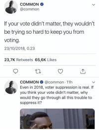 Common, Common Sense, and Why: COMMON  @common  If your vote didn't matter, they wouldn't  be trying so hard to keep you from  voting.  23/10/2018, 0.23  23,7K Retweets 65,6K Likes  COMMON @common 11h  Even in 2018, voter suppression is real. If  you think your vote didn't matter, why  would they go through all this trouble to  suppress it? Common sense. ✊🏾