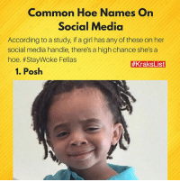 Hoe, Hoes, and Memes: Common Hoe Names On  Social Media  According to a study, if a girl has any of these on her  social media handle, there's a high chance she's a  hoe. #StayWoke Fellas  #KraksList  1. Posh 😂 Tag the culprits and 🏃🏽🏃🏽‍♀️ . Visit www.kraks.co for more awesome lists 😎 KraksList . . . . . hoes hoe hoenames socialmedia list kraks