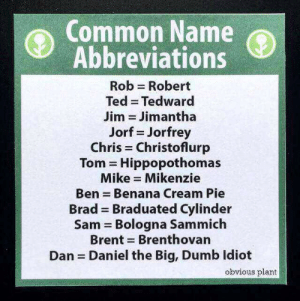 Dumb, Ted, and Common: Common Name  Abbreviations  Rob Robert  Ted Tedward  Jim = Jim antha  Jorf = Jorfrey  Chris Christoflurp  Tom = Hippop°thomas  Mike Mikenzie  Ben = Benana Cream Pie  Brad Braduated Cylinder  Sam Bologna Sammich  Brent Brenthovan  Dan Daniel the Big, Dumb ldiot  obvious plant