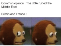 Common, France, and The Middle: Common opinion : The USA ruined the  Middle-East  Britain and France: Histroy says Invest now! via /r/MemeEconomy https://ift.tt/2I6d96f