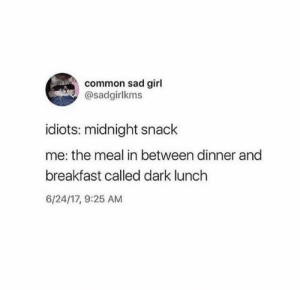 Hella Funny Memes And Tweets For You - Memebase - Funny Memes: common sad girl  @sadgirlkms  idiots: midnight snack  me: the meal in between dinner and  breakfast called dark lunch  6/24/17, 9:25 AM Hella Funny Memes And Tweets For You - Memebase - Funny Memes