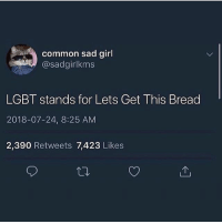Lgbt, Memes, and Common: common sad girl  @sadgirlkms  LGBT stands for Lets Get This Bread  2018-07-24, 8:25 AM  2,390 Retweets 7,423 Likes tag A Bread