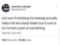 Common, Girl, and Sad: common sad girl  @sadgirlkms  not sure if bobbing the teabag actually  helps the tea steep faster but it sure is  fun to feel a part of something  10/2/18, 4:57 PM  14K Retweets 72.9K Likes