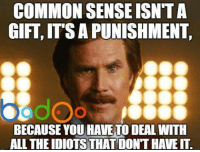Credit: Badoo . Check out their app!: COMMON SENSE ISNTA  GIFT ITS A PUNISHMENT.  ddOo  BECAUSE YOU HAVE TO DEAL WITH  ALL THEIDIOTSTHAT DONT HAVEIT. Credit: Badoo . Check out their app!