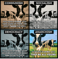 COMMUNISM  SOCIALISM  YOU HAVE 2  COWS YOU  YOU HAVE 2 COWS THE  TAKE CARE OF THEM THE  GOVT TAKES THEM AAN D  GOVT TARES THE MILK  SELLS YOUTHE MILK  DEMOCRACY  ANARCHISM  YOU HAVE 2 cows, YOUR  YOU HAVE 2 cows,AND  NEIGHBORS DECIDE WHAT  ALL YOURS  THEY RE YOU DO WITH  THEM TWO COWS ~{Matthias Varga}  SOCIALISM You have 2 cows. You give one to your neighbour  COMMUNISM You have 2 cows. The State takes both and gives you some milk  FASCISM You have 2 cows. The State takes both and sells you some milk  NAZISM You have 2 cows. The State takes both and shoots you  BUREAUCRATISM You have 2 cows. The State takes both, shoots one, milks the other, and then throws the milk away  TRADITIONAL CAPITALISM You have two cows. You sell one and buy a bull. Your herd multiplies, and the economy grows. You sell them and retire on the income  ROYAL BANK OF SCOTLAND (VENTURE) CAPITALISM You have two cows. You sell three of them to your publicly listed company, using letters of credit opened by your brother-in-law at the bank, then execute a debt/equity swap with an associated general offer so that you get all four cows back, with a tax exemption for five cows. The milk rights of the six cows are transferred via an intermediary to a Cayman Island Company secretly owned by the majority shareholder who sells the rights to all seven cows back to your listed company. The annual report says the company owns eight cows, with an option on one more. You sell one cow to buy a new president of the United States , leaving you with nine cows. No balance sheet provided with the release. The public then buys your bull.  SURREALISM You have two giraffes. The government requires you to take harmonica lessons.  AN AMERICAN CORPORATION You have two cows. You sell one, and force the other to produce the milk of four cows. Later, you hire a consultant to analyse why the cow has dropped dead.  A GREEK CORPORATION You have two cows. You borrow lots of euros to build barns, milking sheds, hay stores, feed sheds, dairies, cold stores, abattoir, cheese unit and packing sheds. You still only have two cows.  A FRENCH CORPORATION You have two cows. You go on strike, organise a riot, and block the roads, because you want three cows.  A JAPANESE CORPORATION You have two cows. You redesign them so they are one-tenth the size of an ordinary cow and produce twenty times the milk. You then create a clever cow cartoon image called a Cowkimona and market it worldwide.  AN ITALIAN CORPORATION You have two cows, but you don't know where they are. You decide to have lunch.  A SWISS CORPORATION You have 5000 cows. None of them belong to you. You charge the owners for storing them.  A CHINESE CORPORATION You have two cows. You have 300 people milking them. You claim that you have full employment, and high bovine productivity. You arrest the newsman who reported the real situation.  AN INDIAN CORPORATION You have two cows. You worship them.  A BRITISH CORPORATION You have two cows. Both are mad.  AN IRAQI CORPORATION Everyone thinks you have lots of cows. You tell them that you have none. No-one believes you, so they bomb the ** out of you and invade your country. You still have no cows, but at least you are now a Democracy.  AN AUSTRALIAN CORPORATION You have two cows. Business seems pretty good. You close the office and go for a few beers to celebrate.  A NEW ZEALAND CORPORATION You have two cows. The one on the left looks very attractive...