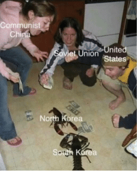 North Korea, China, and Korean: Communist  China  nited  Soviet Union States  e North Korea the Korean war, during the cold war (circa 1951)