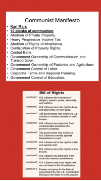 Communism: Communist Manifesto  Karl Marx  10 planks of communism  . Abolition of Private Property  . Heavy Progressive Income Tax.  Abolition of Rights of Inheritance  Confiscation of Property Rights  .Central Bank  Government Ownership of Communication and  T ransportation  .Government Ownership of Factories and Agriculture  Government Control of Labor.  Corporate Farms and Regional Planning  .Government Control of Education  Bill of Rights  Amendment 1 U.S. citizens have freedom of  religion, speech, press, assembly,  and petition.  Amendment 2 U.S. citizens have the right to keep  and bear arms, or own guns.  Amendment 3 The government may not force U.S.  citizens to shelter soldiers in their  homes.  Amendment 4 U.S. citizens are protected from  unreasonable searches of a  person's property.  Amendment 5 The government may not force  U.S. citizens to testify against  themselves in court.  Amendment 6 U.S. citizens have the right to a fair  Amendment 7 U.S. citizens have the right to a trial  Amendment 8 U.S. citizens are protected from  Amendment9 U.S. citizens may have rights that  Amendment 10 Powers not given to the federal  and speedy trial.  by jury  cruel and unusual punishment.  are not listed in the Constitution.  government by the U.S. Constitution  belong to the state or to the people.