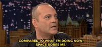 "Target, youtube.com, and Space: COMPAREDTOWHAT I'M DOING NOW  SPACE BORES ME <p><a href=""https://www.youtube.com/watch?v=V6q68JTGjh4"" target=""_blank"">Jimmy and Vince Vaughn make intense eye contact during an Emotional Interview</a>!<br/></p>"
