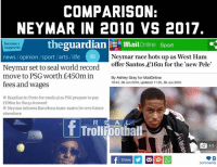 😳💰  Like Troll Football for more: COMPARISON:  NEYMAR IN 2010 VS 2017  become a  supporter  thegua  rdian | Ξ mai!Online Sport  Neymar race hots up as West Ham  offer Santos £16m for the new Pele  news / opinion /sport /arts / life  Neymar set to seal world record  move to PSG worth £450m in  By Ashley Gray for MailOnline  10:43, 30 Jun 2010, updated 11:26, 30 Jun 2010  fees and wages  Brazilian in Porto for medical as PSG prepare to pay  E198m for Barça forward  Neymar informs Barcelona team-mates he sees future  elsewhere  RE A L  回+1  comments 😳💰  Like Troll Football for more