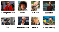 God, Music, and Nature: CompassionPeace  Nature  Wonder  Ri  Joy  Imagination Music Creativity Kind people die early because God cant wait to meet them.