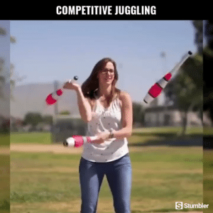 Funny, Memes, and Videos: COMPETITIVE JUGGLING  S Stumbler RT @StumblerFunny: For more funny videos follow @StumblerFunny or visit https://t.co/wXxwph26cH https://t.co/qNjNEFhA1p