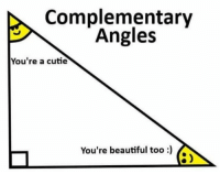 Complementary: Complementary  Angles  You're a cutie  You're beautiful too)  8 )