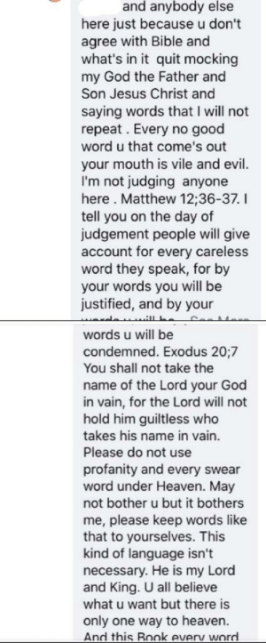 Complete stranger didn't like me saying f the bible. That's Not even the full comment.: Complete stranger didn't like me saying f the bible. That's Not even the full comment.