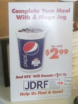 Feedback Loop: Complete Your Meal  With A Mega Jug  for only  $299  And KFC Will Donate $100 To  JDRF  Juvenile  Diabetes  Research  Foundation  Help Us Find A Cure! Feedback Loop