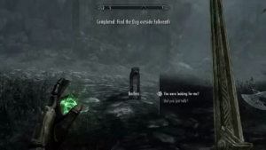 sheoshitpost: Cinematic comedic timing: Completed: Find the Dog outside Falkreath  Bar  You were looking for me?  Did you jest talk? sheoshitpost: Cinematic comedic timing